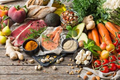Plakat Healthy food for balanced flexitarian mediterranean diet concept