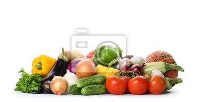Plakat Heap of fresh ripe vegetables on white background. Organic food