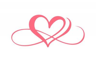 Plakat Heart love logo with Infinity sign. Design flourish element for valentine card. Vector illustration. Romantic symbol wedding. Template for t shirt, banner, poster