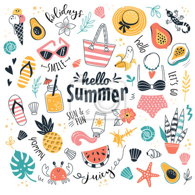 Plakat Hello Summer collection. Vector illustration of funny cartoon summer icons, such as fruits, exotic animals and plants, swimwear and food in doodle style. Isolated on white.