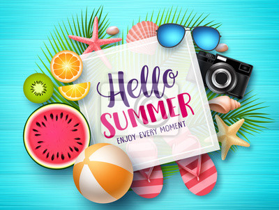 Plakat Hello summer vector banner template. Hello summer text in white space boarder with colorful beach elements like tropical fruits a beach ball in blue wood textured background. Vector illustration.
