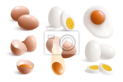 Plakat Hen Eggs Realistic Icon Set
