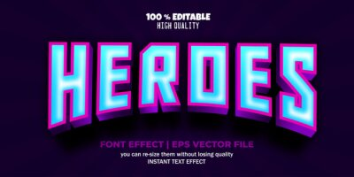 Plakat Heroes editable font vector text style template