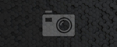 Plakat Hexagonal dark grey, black background texture, 3d illustration, 3d rendering