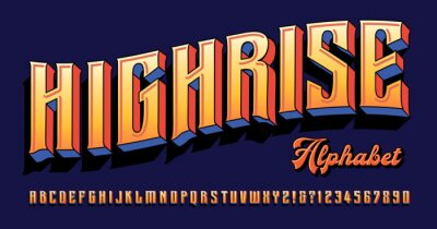 Plakat Highrise is a tall condensed font with old world detailing and vivid colors; vintage sign painter retro lettering.