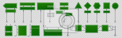 Plakat Highway signs. Green pointers on the road, traffic control signs and road direction signboards. Vector illustration information empty roadside signs set on transparent background