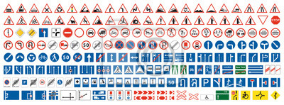 Plakat Highway warning, priority, prohibitory signs collection. Set of more than two hundred road signs.