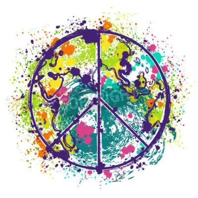 Plakat Hippie symbol pokoju na ziemi globu tle z plamami w stylu akwareli. projekt koncepcyjny na banner, karty, rezerwacji złomu, koszulki, torby, drukowania plakatu. ręcznie rysowane ilustracji wektorowych