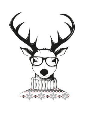 Plakat Hipster Hirsch w okularach nerd i sweter