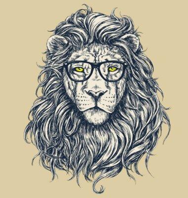 Plakat Hipster lion vector illustration. Glasses separated.