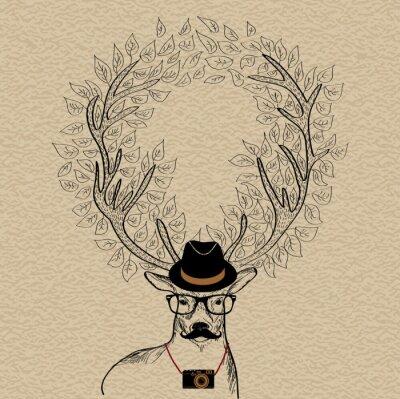 Plakat Hipster reniferów życzeniami