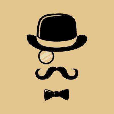 Plakat Hipster z wąsem top hat i Muszka sylwetka
