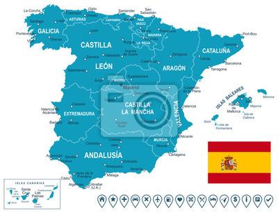 Hiszpania mapa, flaga i nawigacji etykiety. Bardzo szczegółowe ilustracji wektorowych. Obraz zawiera konturów następną warstwę ziemi, nazwy kraju i kraju, nazwy miast, flagi, ikony nawigacji.