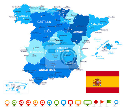 Hiszpania - mapa, flaga i nawigacji ikony - illustration.Image zawiera kolejne warstwy: kontury ziemi, kraj i nazwy gruntów, nazwy miast, nazwy obiektów wody, flaga, ikony nawigacyjne.