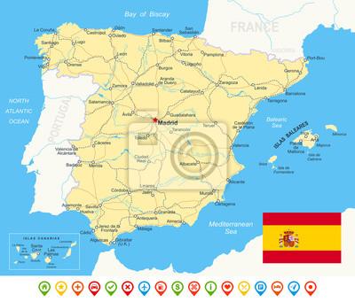 Hiszpania - mapa, flaga, ikony nawigacyjne, drogi, rzeki -