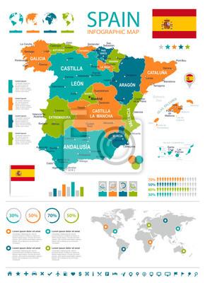 Plakat Hiszpania mapę - infografika zestaw
