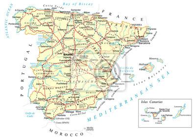 Plakat Hiszpania - szczegółowa mapa - ilustracja