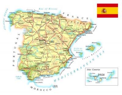 Plakat Hiszpania - szczegółowa mapa topograficzna - ilustracja