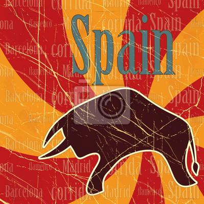 Plakat Hiszpański byk na tle grungy