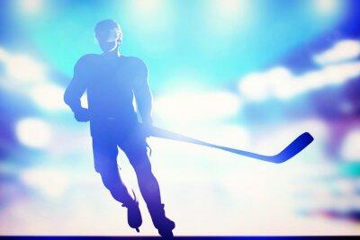 Plakat Hokeista na łyżwach na lodzie w arenie, światła nocy