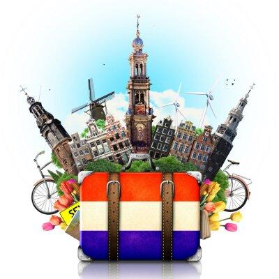 Plakat Holandia, Amsterdam zabytki, podróże i retro walizka