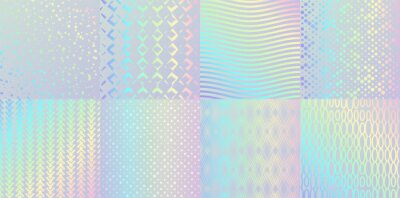 Plakat Holographic textures. Glitter foil confetti and metal rainbow gradient, pink and blue retro design. Vector trendy neon hologram with luminous patterns for elegant background logo or card