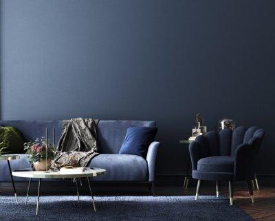 Plakat Home interior, luxury modern dark living room interior, blue empty wall mock up, 3d render