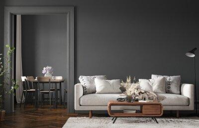 Plakat Home interior, modern dark living room interior, black empty wall mock up, 3d render