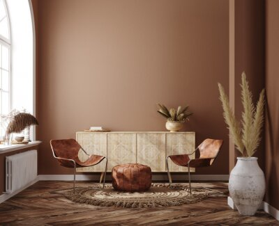 Plakat Home interior with ethnic boho decoration, living room in brown warm color, 3d render