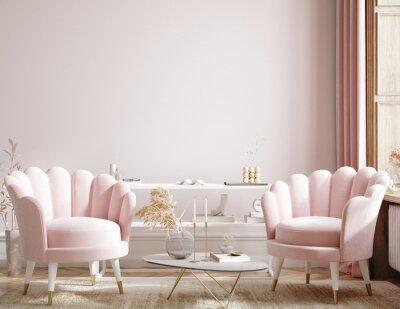 Plakat Home mock up, modern feminine living room interior background, 3d render