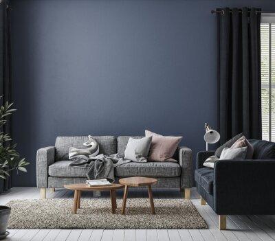 Plakat Home mockup in simple dark blue interior background, 3d render