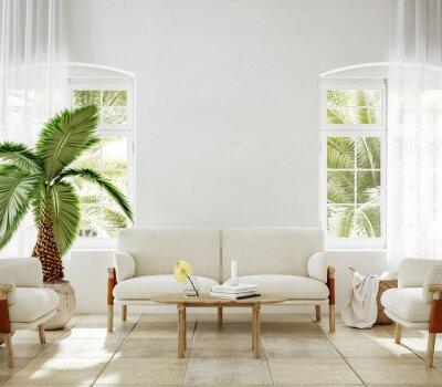 Plakat Home mockup, living room interior of Spanish villa, 3d render
