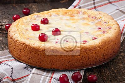 Homemade Pie with cherries and cream