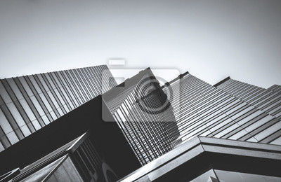 Plakat Hong Kong Commercial Building Close Up; Black and White style