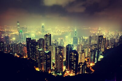 Plakat Hong Kong wyspa od szczytu Victoria
