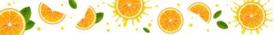 Plakat Horizontal Banner with Juicy Orange Slices