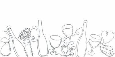 Plakat Horizontal Seamless  Pattern with Wine. Border with Continuous line Drawing  Bottles, Glasses,Olives, Fruits and Cheese . Vector Background.