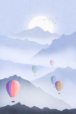 Plakat Hot Air Balloons over Mountains Illustration