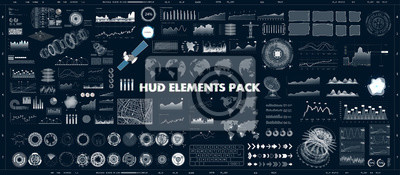 Plakat HUD design elements set for UI UX GUI projects. Data and statistic, infochart, infographic, chart and graphics.Futuristic Sci-fi User Interface for App (business, medicine, forex, finance, analytics)