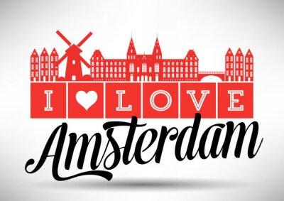 Plakat I Love Amsterdam Skyline Design
