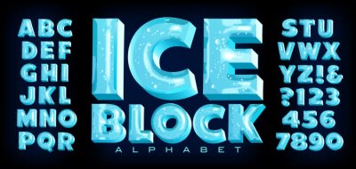 Plakat Ice Block Alphabet; A Vector Font with 3d Ice Effects Complete with Reflections, Transparency, Trapped Bubbles and Other Realistic Detailing. This Lettering Has the Frozen Look of Ice Cubes.