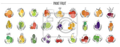 Plakat Icon fruit and vegetable set. Hand drawn naive style.