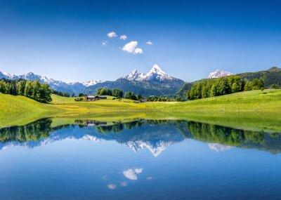 Plakat Idylliczny krajobraz lato z górskie jezioro i Alpy