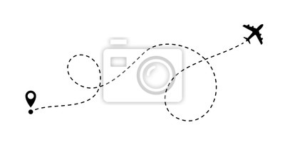 Plakat Ikona linii linii wektor podróży samolotem linii