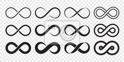 Plakat Ikona logo pętli nieskończoności. Wektor nieograniczona nieskończoność, niekończący się znak kształtu linii