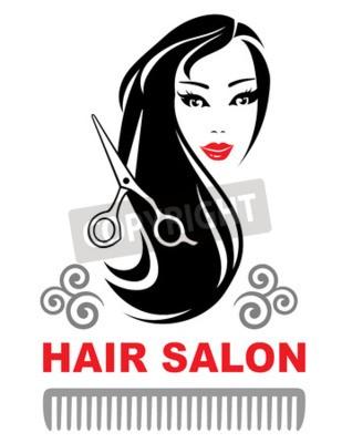 Ikona Salon Fryzjerski Z Młoda Dziewczyna Pretty Z Długo Czarne Plakaty Redro