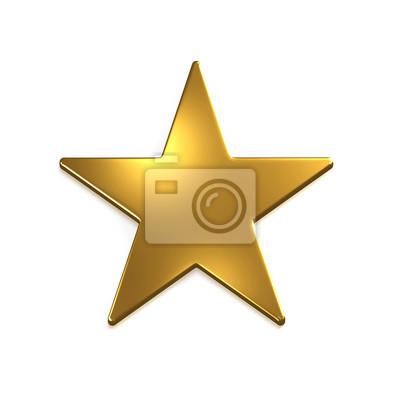 Plakat Ikona Złotej Gwiazdy. 3D Gold Render Illustration