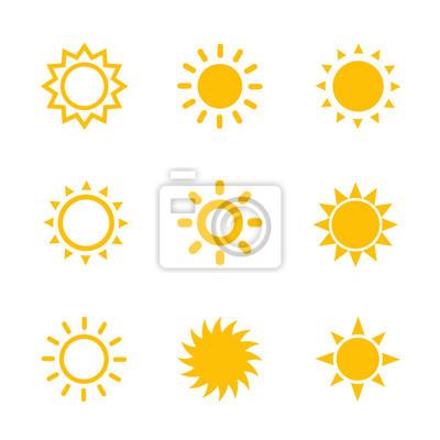 Plakat Ikony słońca na białym