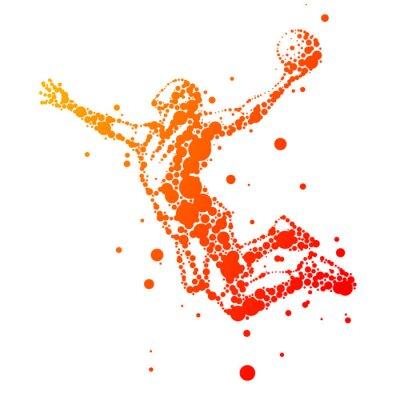 Plakat Ilustracja abstrakcyjna koszykarz w skoku