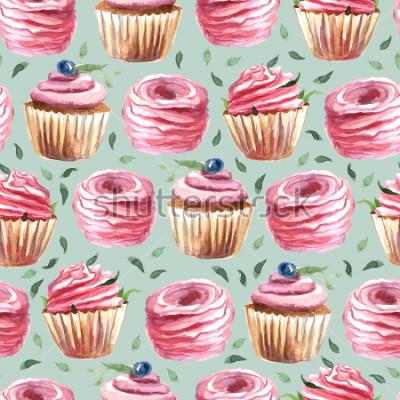 Plakat Ilustracja akwareli. wzór rose capcake z kwiatów i jagód i marshmallows izolować na tle mięty.